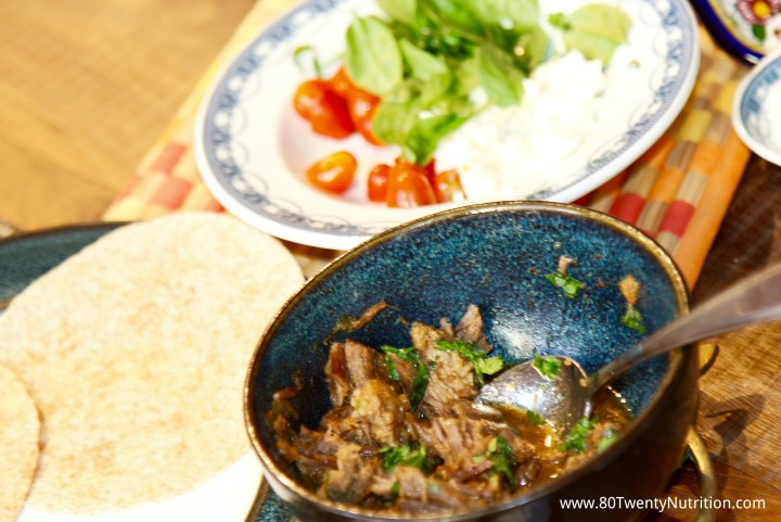 Beef Brisket Carnitas tacos - media dietitian Christy Brissette 80 Twenty Nutrition