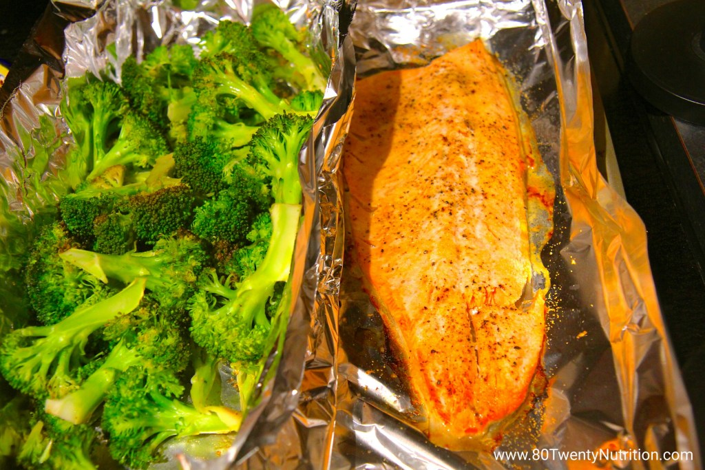 Baked Salmon and Broccoli low carb gluten free paleo primal Christy Brissette media dietitian 80 Twenty Nutrition