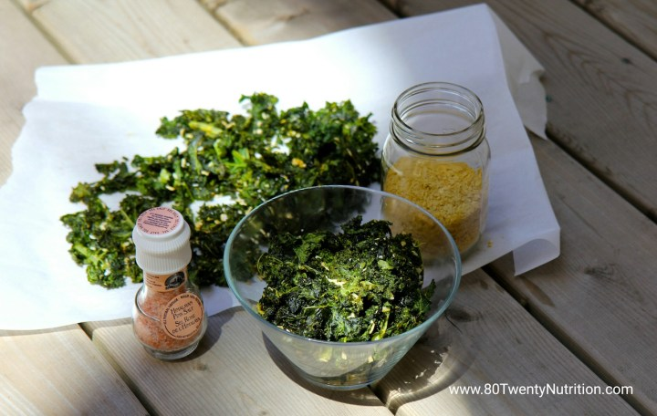 Sour Cream and Onion Kale Chips - Christy Brissette media dietitian - 80 Twenty Nutrition
