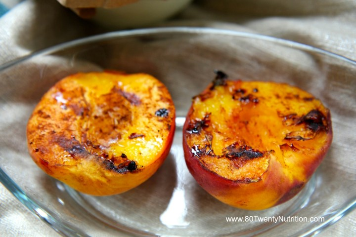 Grilled Peaches with Cinnamon and Balsamic Drizzle - vegan gluten-free dessert - Christy Brissette media dietitian 80 Twenty Nutrition
