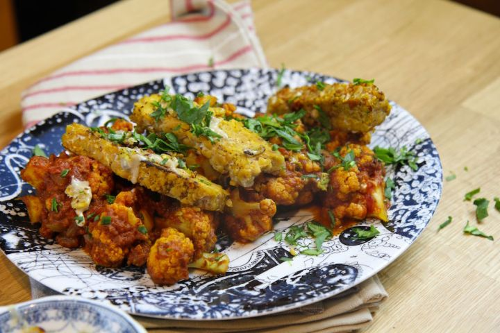 Sumac Tempeh with Braised Cauliflower - vegan, gluten-free, paleo, low carb - recipe by Christy Brissette, media dietitian, 80 Twenty Nutrition