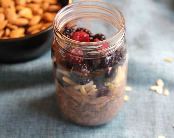 Chocolate Cherry Chia Overnight Oats - vegan, gluten-free, no added sugar, no refined sugar, meal prep - Christy Brissette, media registered dietitian nutritionist - 80 Twenty Nutrition