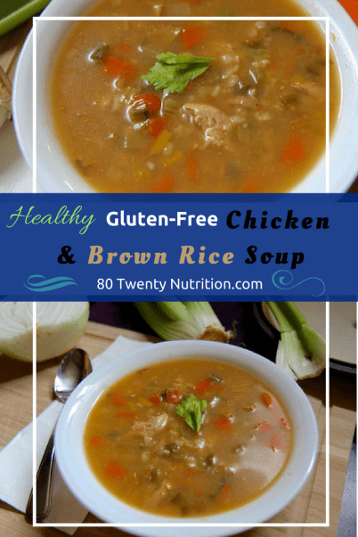 Best Ever Chicken and Brown Rice Soup - the ultimate comfort food and healthy one pot meal! Christy Brissette media dietitian nutritionist 80 Twenty Nutrition