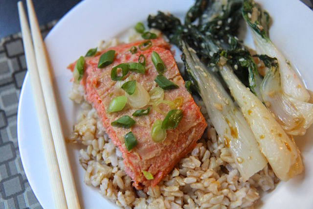 Miso Trout with Sesame Garlic Bok Choy and Brown Rice - Christy Brissette, media registered dietitian nutritionist - 80 Twenty Nutrition
