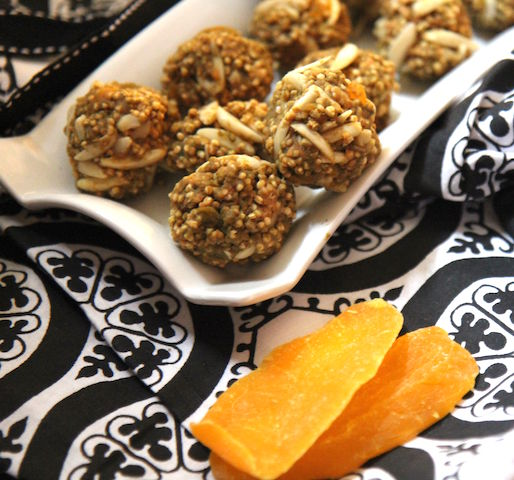 Quinoa mango almond energy bites - no bake, vegan, gluten-free - recipe by media registered dietitian nutritionist Christy Brissette 80 Twenty Nutrition