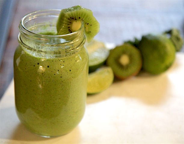 Kiwi Lime Green Smoothie - vegan and paleo - pegan - recipe by Christy Brissette media registered dietitian nutritionist - 80 Twenty Nutrition