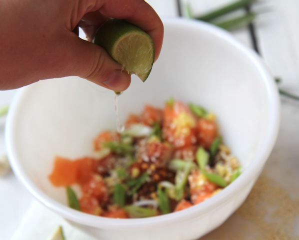 Sesame Salmon Poke Bowl - no added sugar, gluten-free, low carb, paleo, keto, primal, high in protein - recipe by Christy Brissette, media registered dietitian nutritionist, 80 Twenty Nutrition Communications in Toronto and California