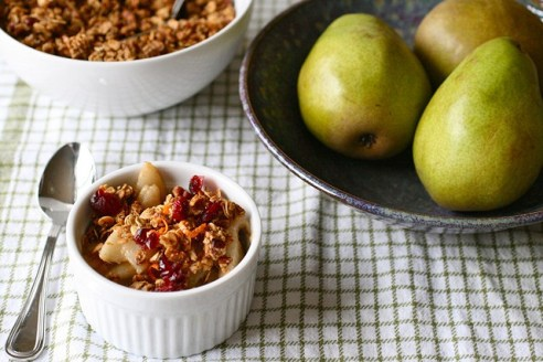 Poached Pears with Coconut Chai Spiced Granola and Coconut Yogurt. Vegan and Gluten Free Breakfast or Dessert. Recipe by Christy Brissette, media registered dietitian nutritionist at 80 Twenty Nutrition
