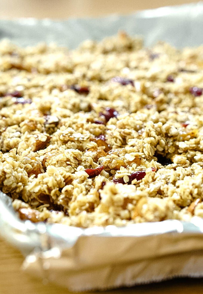 Granola on jelly roll pan