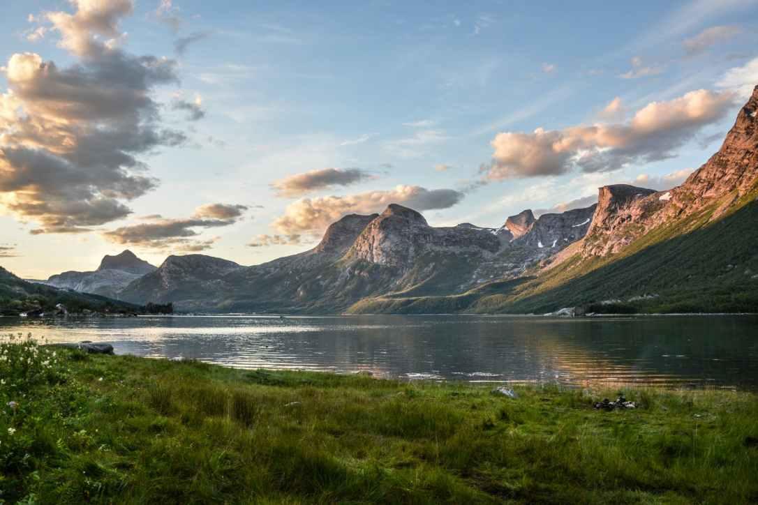 mountain and lake at sunset