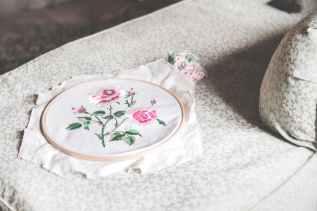 floral design on white textile