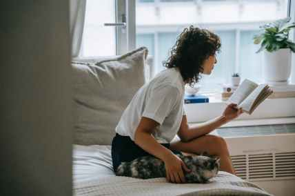 focused woman reading book on bed near cat