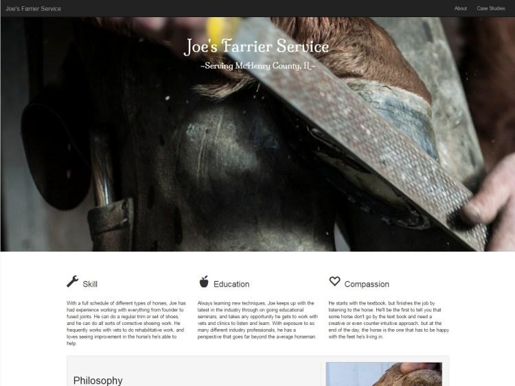 Joe's Farrier Service Website