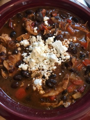 Smoky Black Bean Chicken Stew with Goat Cheese from The Dude Diet (WildmooBooks.com)
