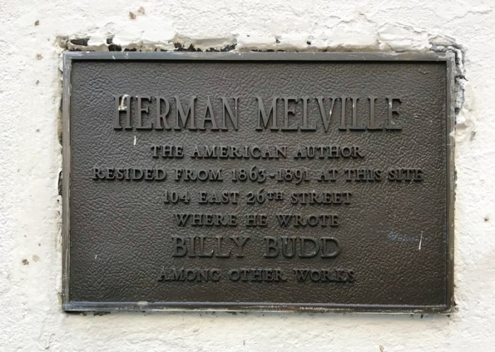 Herman Melville 104 East 26th Street Plaque (WildmooBooks.com)