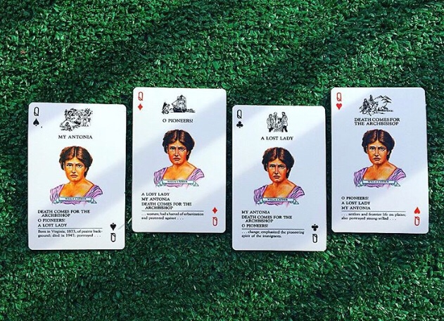 Willa Cather playing cards from American Authors Card Game (WildmooBooks.com)