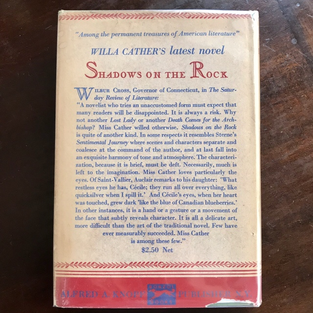 Obscure Destinies, First Edition, Back Cover, Wilbur Cross review of Shadows on the Rock, WildmooBooks.com