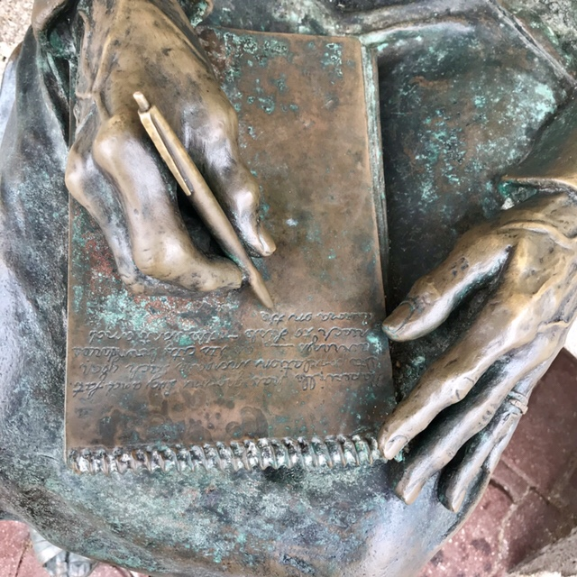 Hand Details of Genevieve Towsley Statue (1907-1995) on WildmooBooks.com