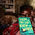 Cozy winter scene, reading by the fireplace with dogs. Hum If You Don't Know The Words by Bianca Marais (WildmooBooks.com)