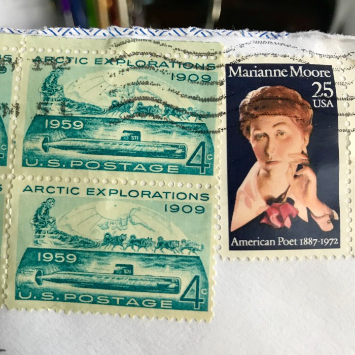 Arctic Explorations and Marianne Moore stamps