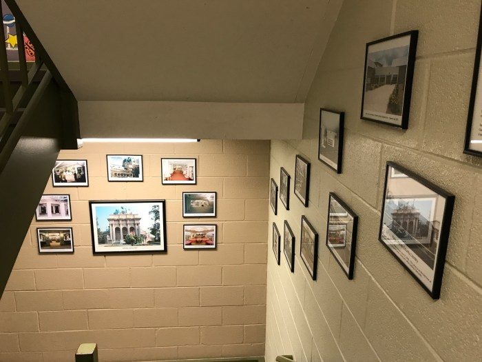 Historic photos in the stairwell at The Handley Library in Winchester, VA