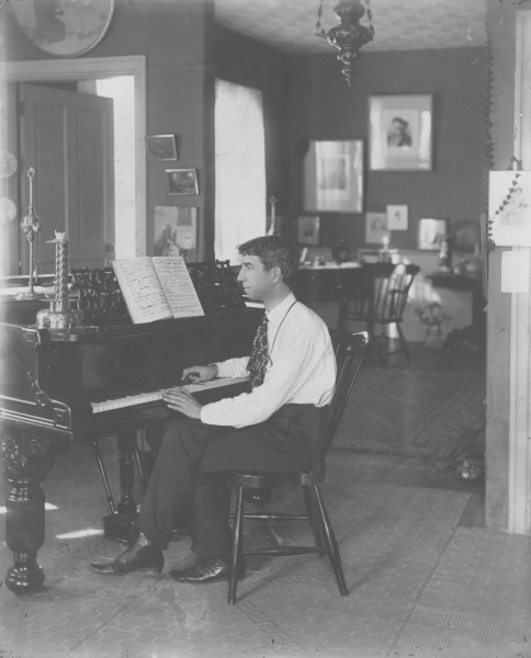 Composer and Pianist Ethelbert Woodbridge Nevin at his piano