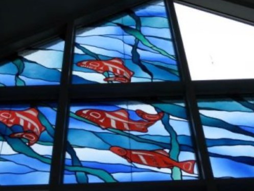 Library Visit: Juneau, Alaska - stained glass salmon detail