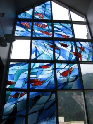 Library Visit: Juneau, Alaska - stained glass by Bruce Elliot