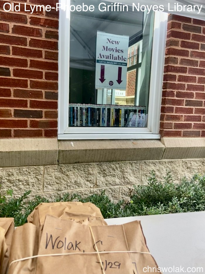 New movies on display through the window - Old Lyme-Phoebe Griffin Noyes Library