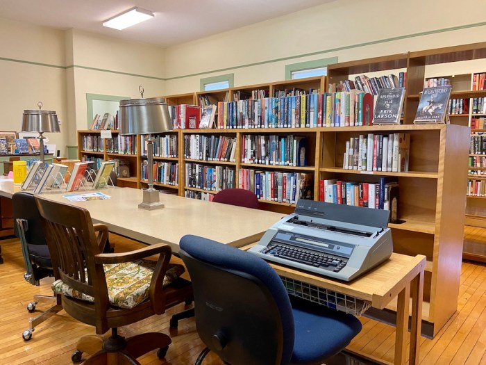 Work table and typewriter at East Glastonbury Library