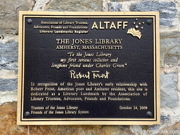 Robert Frost Literary Landmark, Jones Library, Amherst, MA