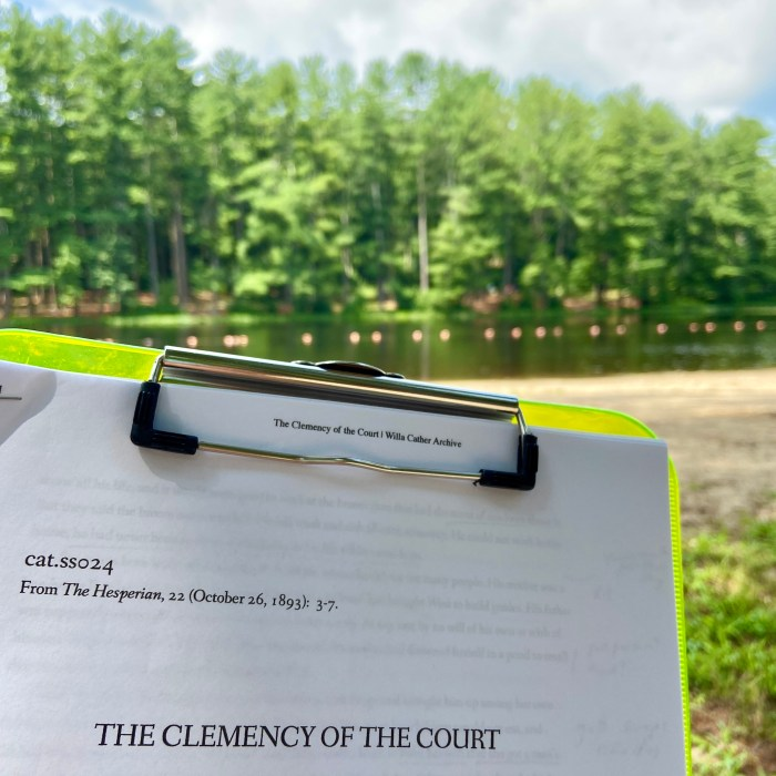 Reading The Clemency of the Court at Chatfield Hollow State Park, The Clemency of the Court response post, Willa Cather Short Story Project