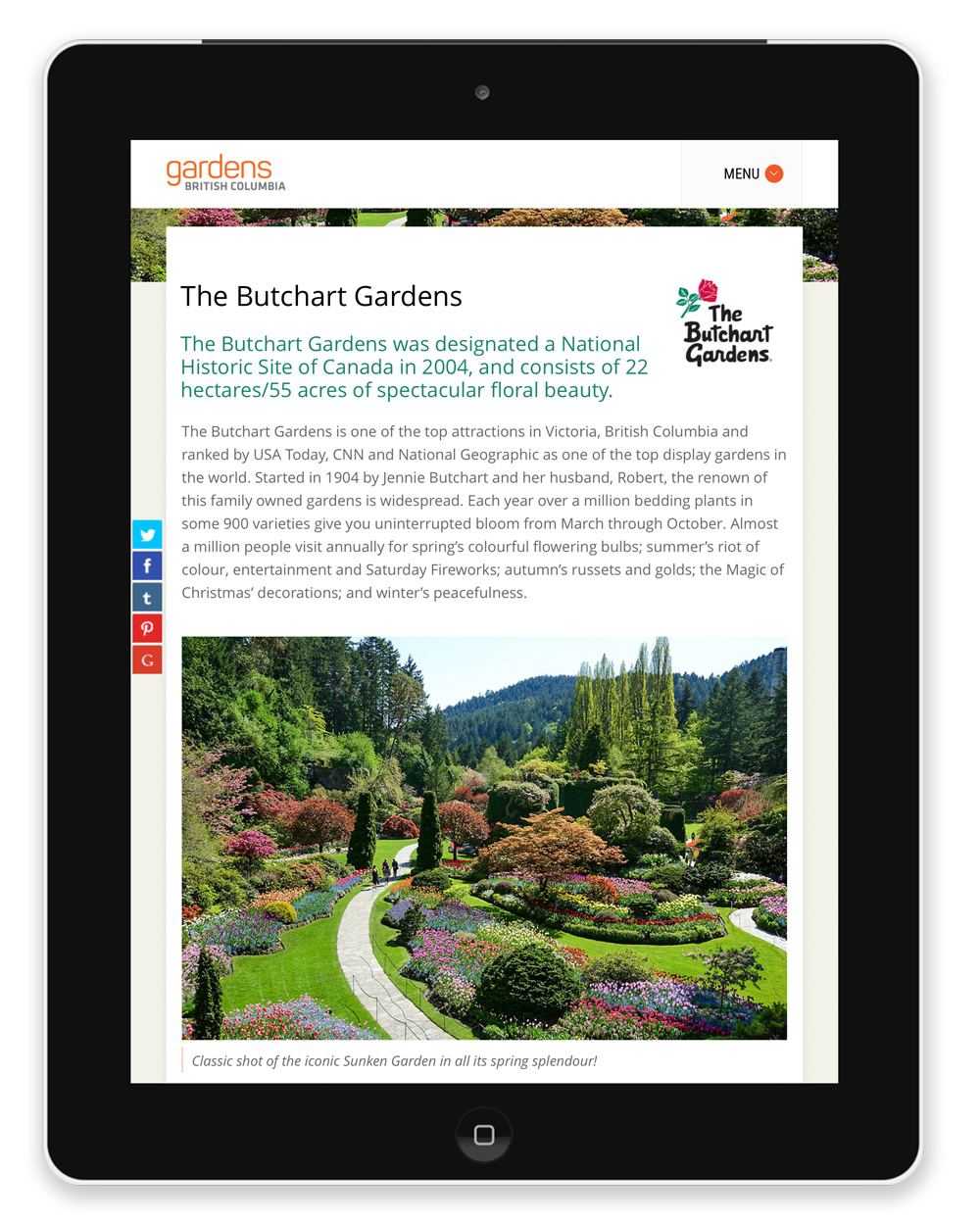 The Butchart Gardens Member Page displayed on an iPad.