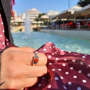 Δαχτυλίδι ασήμι 925° με Μαρκασίτη σε κεραμιδί χρώμα