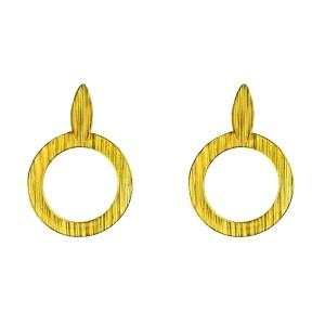 Κρεμαστά σκουλαρίκια με φύλλο και κρίκους από Επιχρυσωμένο & Επιροδιωμένο Μπρούντζο