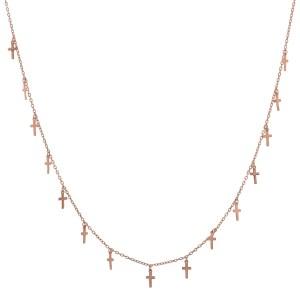 Κολιέ από ασήμι 925° σε Ροζ Χρυσό με 15 Κρεμαστούς Σταυρούς