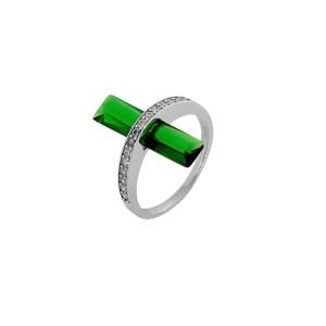 Δαχτυλίδι από Ασήμι 925° Βεράκι με Λευκά Ζιργκόν γύρω - γύρω & Ημιπολύτιμη Πέτρα Emerald (Ζιργκόν)