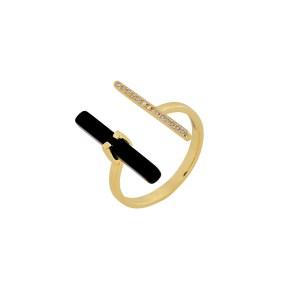 Δαχτυλίδι από Ασήμι 925° Επιχρυσωμένο με Λευκά Ζιργκόν στη μία Άκρη και Πέτρα Μαύρη στην Άλλη