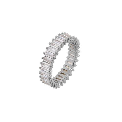 Δαχτυλίδι από Ασήμι 925° με Λευκές Ημιπολύτιμες Πέτρες (Ζιργκόν)
