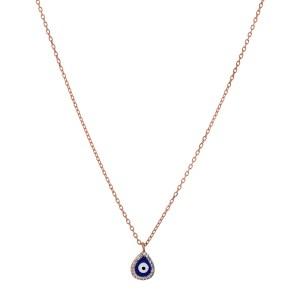 Κολιέ από ασήμι 925° σε Ροζ Χρυσό Με Ματάκι Δάκρυ Σμάλτο & Λευκές Ημιπολύτιμες Πέτρες Ζιργκόν