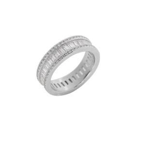 Δαχτυλίδι από Ασήμι 925° με Λευκές Ημιπολύτιμες Πέτρες (Ζιργκόν) Ορθογώνιες & 2 Σειρές από Μικρότερες Στρογγυλές
