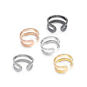 Δαχτυλίδια Σετ των Πέντε Μεταλλικό Ορειχάλκινο (Μπρούτζινο) Δαχτυλίδι Διπλό σε Χρυσό, Ασημί, Ροζ Χρυσό, Ρόδιο & Μαύρο 21mm