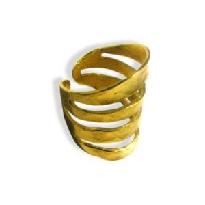 Δαχτυλίδι Μεταλλικό Ορειχάλκινο Μπρούτζινο Χυτό σε Χρυσό Χρώμα 22x25mm