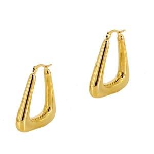 Σκουλαρίκια Kρίκοι σε Χρυσό Χρώμα από Ανοξείδωτο Ατσάλι σε Σχήμα Τρίγωνο
