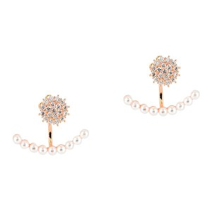Σκουλαρίκια Ear Jackets σε Ροζ Xρυσό Χρώμα από Ανοξείδωτο Ατσάλι με Στρας και Σειρά από Πέρλες