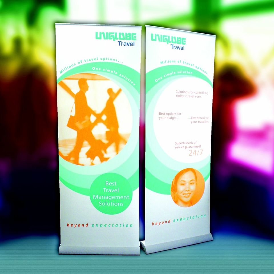 Roller banners design and print. Chromatics, large format printers, Sussex.