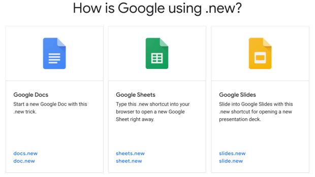 """Accédez à vos applications Google à partir du """".new"""" !"""