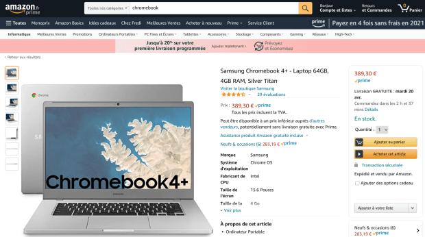 Les Samsung Chromebook 4 et 4+ disponibles chez Amazon France ?