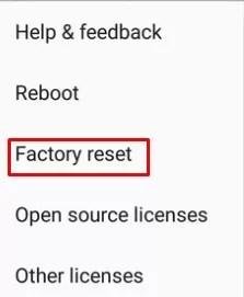 Click Factory Reset