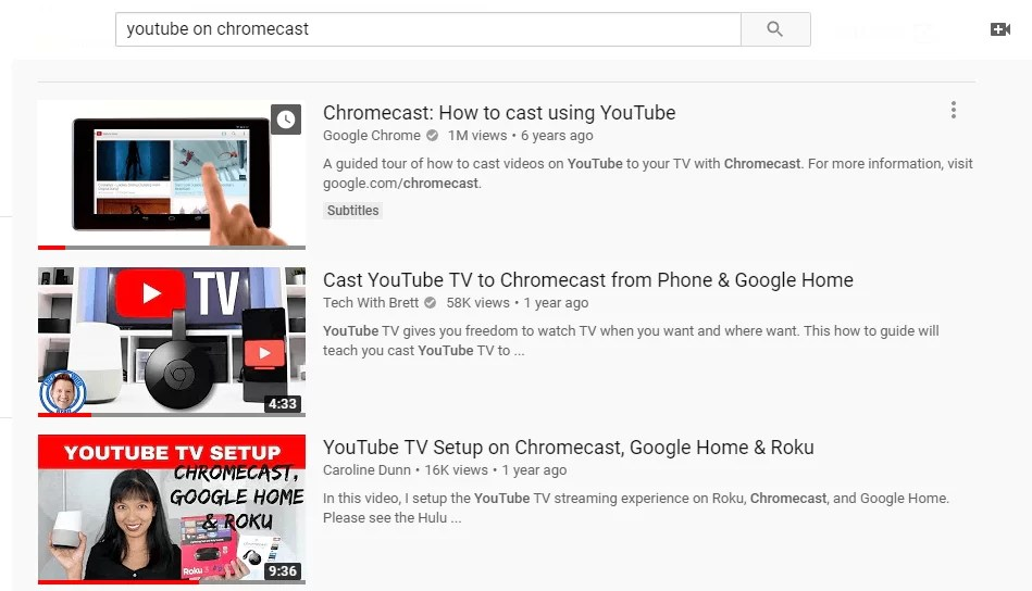 YouTube on Chromecast